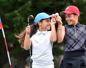 Maia (left) and Anahera Koni have both had holes in one on the fifth hole at the Island Park Golf...