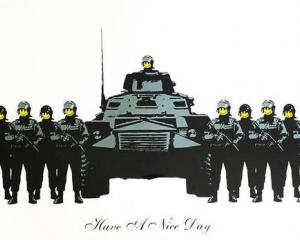 The iconic military-themed Banksy screen print went for a record $126,000 at auction in Auckland...
