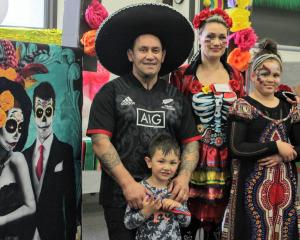 Invercargill family Tyrone Tainui, Tytus (4), Sarina and Tingah (10) Faalologo dress up for the...