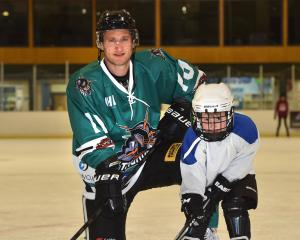 Dunedin Thunder player Matt Enright and son Beau (5) at the Dunedin Ice Stadium yesterday. PHOTO:...