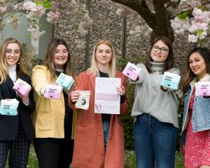 Canterbury University students (from left) Romy Gellen, Olivia Dobbs, Charlotte Hawkins, Caitlin...