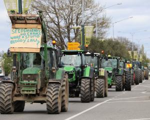 Some of the more than 100 tractors which drove through Gore last week to protest freshwater...