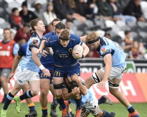 Otago lock Jack Regan powers through a Northland onslaught. PHOTO: PETER MCINTOSH
