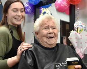 Eileen Pratt (100) has her weekly hair styling with Hair Co hairdresser Tansy Mogensen in Mosgiel...