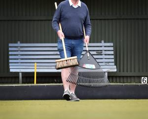 Jim Scott on the greens at the North East Valley Bowling Club preparing for the Dunedin Casino...