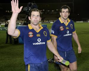 Former Otago and All Blacks front rowers Anton Oliver (left) and Carl Hayman. Photo: ODT files