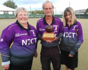 The winning Parajacks team of (from left) Carolyn Crawford, Graham Skellern and Pam Walker is all...