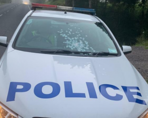 The police car shot at in Northland. Photo: NZ Police
