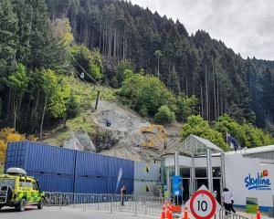 St John staff and police are on stand-by at the foot of the Skyline Gondola, Queenstown, as a...