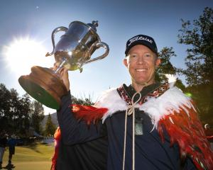 Australian Brad Kennedy celebrates winning the 2020 New Zealand Open. PHOTO: BRETT PHIBBS...