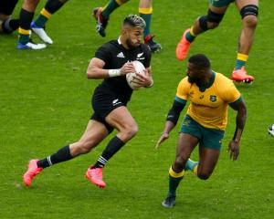 Rieko Ioane on the run for the All Blacks during yesterday's Bledisloe Cup test against Australia...