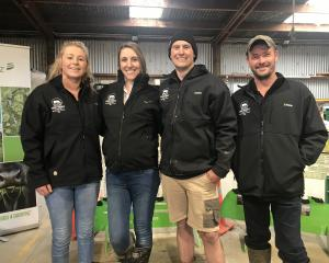 Speaking at the Share Farmers of the Year event are from left Southland and Otago's dairy trainee...