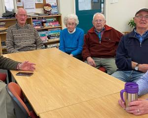 Age Concern Otago members (from left) Keith Williamson, Syd Pledger, Noeline Pocklington, John...