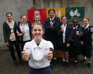 Kavanagh College enviro prefect Rosa Latton (17, front) and the school's enviro group (back from...