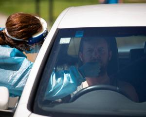 A person is tested at a pop-up testing centre in Greenhithe in Auckland. Photo: NZ Herald