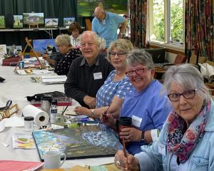 Green Island Art Group members (from front) Maria La Rooy, Pat Sparrow, Denise Scott, and...