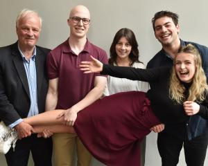 Dr John Guthrie (left), Ben Taylor, Sanne Dean and Xavier English use teamwork to give Antonia...