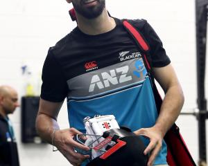 All-rounder Daryl Mitchell, who has been added to the Black Caps test squad, gets ready to train...