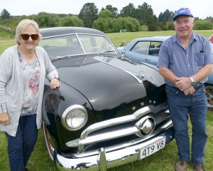 Alan and Sandra Clearwater, of Dunedin, display their original condition 1949 Ford V8 at the...