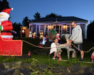Faye Hammond and partner Richard Milmine put the finishing touches to their Christmas display, in...