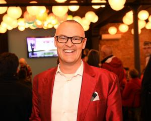 David Clark is all smiles at the Labour party at Petri Dish in Dunedin tonight. Photo: Stephen...