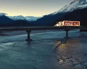 The Remarkables mountain range features in stills from a Christmas-themed Coca-Cola commercial...