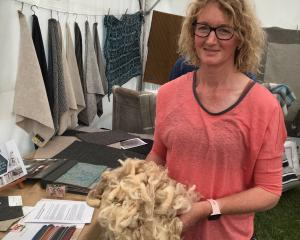 Cheviot farmer Lynda Dickson promotes wool at the Amberley A&P Show last month. PHOTO: DAVID...