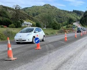Roadworks on State Highway 1 at Evansdale north of Dunedin. Photo: NZTA