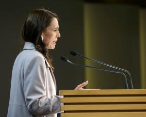 Prime Minister Jacinda Ardern speaks to media during a press conference at Parliament in...