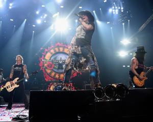 Ready to bring the noise to Forsyth Barr Stadium are Guns n' Roses band members (from left) Duff...