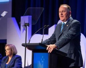 Former Prime Minister John Key speaking at the National Party AGM in Wellington this morning....