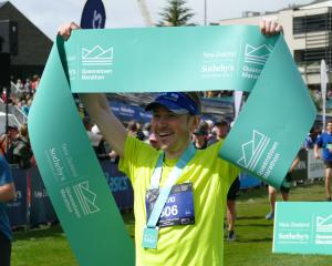 Queenstown Marathon winner David Haunschmidt, of Tauranga, who crossed the finish-line in 2hr...