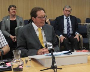 Invercargill Mayor Tim Shadbolt during a press conference yesterday. Photo: Luisa Girao