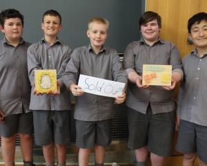 James Hargest Junior Campus pupils and Nail Board Art business founders (from left) MacKinlay...