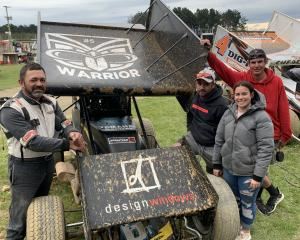Speedway racing driver and former Warriors player Whetu Taewa (left) with his crew (from second...