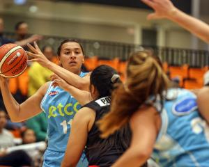 The Auckland Dream's Sharne Robati in action in the women's NBL opening game against the Waikato...
