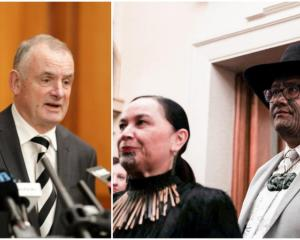 Speaker of the House Trevor Mallard (left) and Māori Party co-leaders Debbie Ngarewa-Packer and...