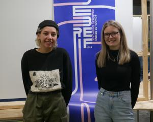 Otago Polytechnic design students Zoe Morehu (27), of Hamilton, and Courtney Forbes (20), of...