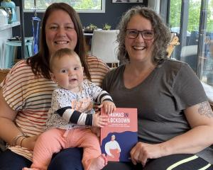 Dunedin mum Sam Gittoes (left), who gave birth to baby Addison (7 months) during Covid-19...