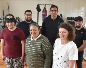 Te Kaika staff and patients (from left) Tamati Hall-Kirk, community support worker David Reedy,...