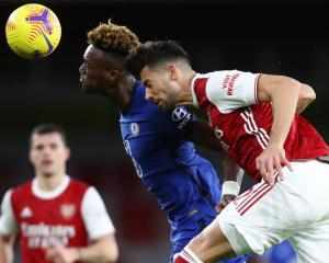 Arsenal's Pablo Mari in action with Chelsea's Tammy Abraham. Photo: Reuters