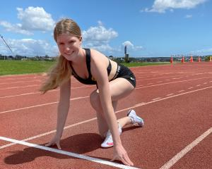 Mount Aspiring College sprinter Abby Fisher as she gets ready for the national secondary schools...