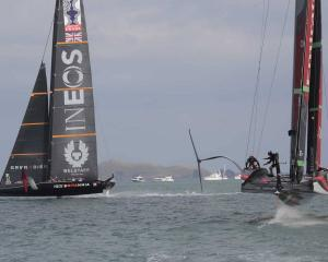 Team New Zealand overcame a poor start in their second race to beat Ineos Team UK. Photo: NZ Herald