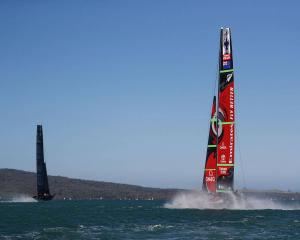Team New Zealand trailing American Magic during the final race of the first day of the World...