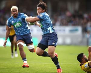 Caleb Clarke on the run for the Blues in this year's Super Rugby Aotearoa competition. Photo:...