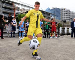The Wellington Phoenix's Cameron Devlin kicks a ball at the A League's season launch at Darling...