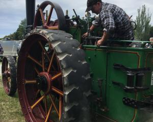 Archie Calder looks after one of his grandfather Gavin Calder's traction engines on display at...