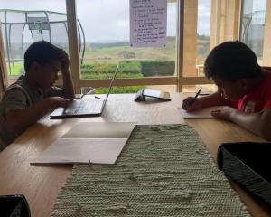 Children being homeschooled under the Covid-19 alert level 4 lockdown. Photo: RNZ / Eden Fusituá