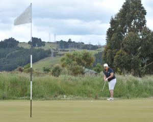 Diane Fahey chips on to the green at the new eighth hole at the Taieri Lakes Golf Club yesterday....