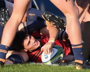 Will Jordan scores against the Brumbies at Christchurch Stadium in their April 6 clash last year....